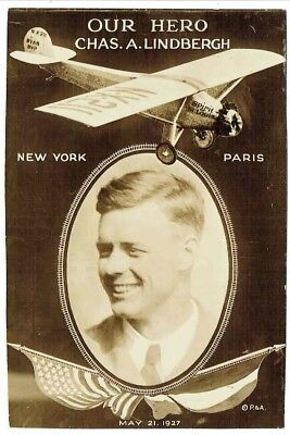 1927 - Our Hero Chas A Lindbergh - New York to Paris - RPPC from Habana, Cuba
