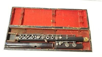 RARE Antique CLAIR GODFROY Aine Paris Wood Boehm System Flute w/ Original Case
