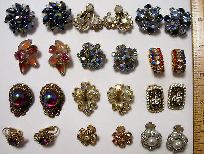 12 Pair Vintage Colorful Rhinestone Earring Lot Clip On 2 Austria 1 Germany