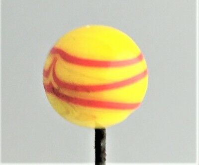 Divine Yellow With Red Swirl Glass Hatpin