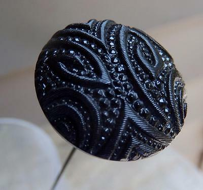 BIG MOURNING MOLDED BLACK GLASS HATPIN victorian
