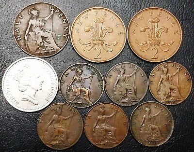 Lot of 10x Great Britain Coins - Various Dates and Denominations