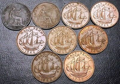Lot of 9x Great Britain UK Half Penny Coins - Dates: 1891 to 1958