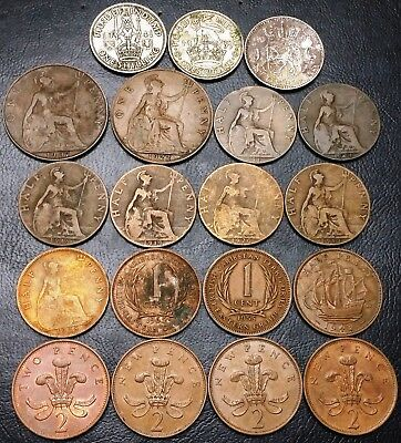 Lot of 19x Great Britain Coins - Various Dates and Denominations