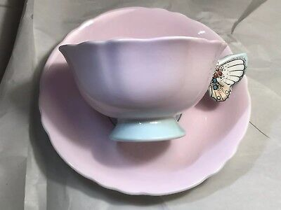 Vintage Paragon England Butterfly Handle Bone China Porcelain Cup & Saucer