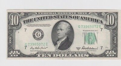 Federal Reserve Note $10 1950-B  unc some handling at one end