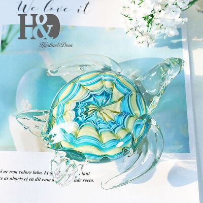 Blue Turtle Glass Animal Wedding Arts Glass Blown Crafts Office Figurines Gifts