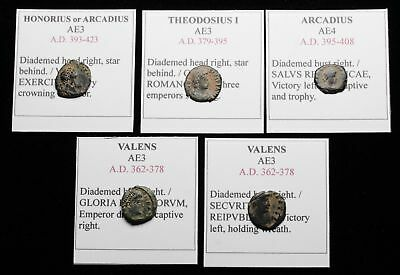 ROMAN IMPERIAL. Lot of 5 Late Roman bronze coins, sand patinas