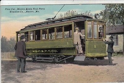 First Car of Mexico Santa Fe & Perry Traction Co trolley Mexico MO pc c1910
