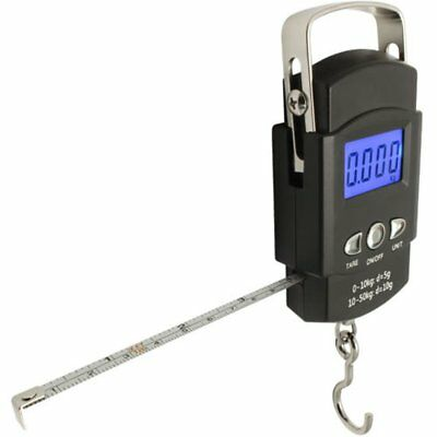 Digital Luggage Scale LCD Display Travel Hook Hanging Weight 110lb/50kg W/ Ruler