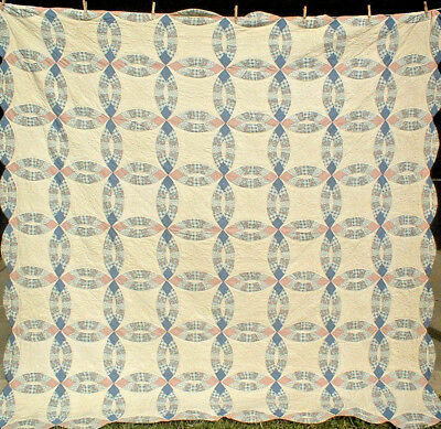 Blues & Pinks Double Wedding Ring Quilt Queen Or Full Size Excellent Cond. Wow!