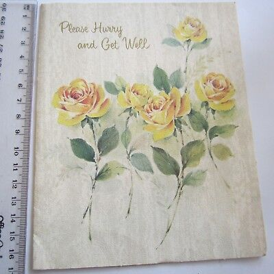 Vintage Greeting Card Hurry & Get Well 1960s Yellow Roses Art Paper Sands Pretty
