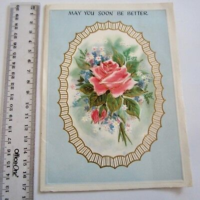 Vintage Greeting Card Get Well Soon 1960s Beautiful Rose Cameo Art Paper Craft