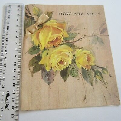 Vintage Greeting Card Yellow Roses General Hello 1960s Art Paper Craft Scrapbook