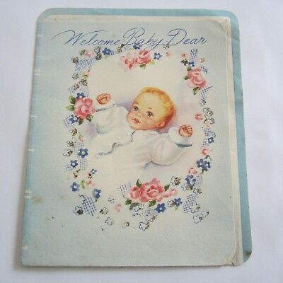 Welcome Baby Blue Vintage 4 fold Greeting Card 1950s Stork Sands Used
