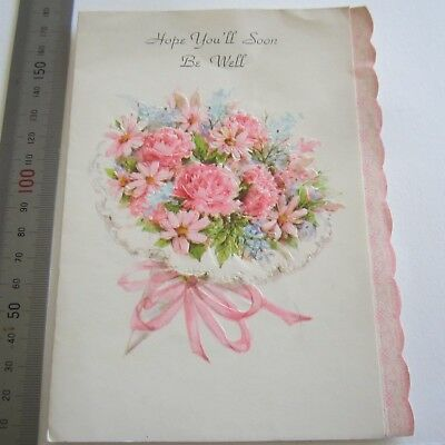 Vintage Greeting Card 1960s Pink Carnations Get Well Embossed Deckle edge pretty