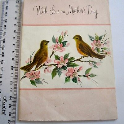 Vintage Greeting Card Mothers Day Pink Birds & Glitter pop up Pink Paper Cut