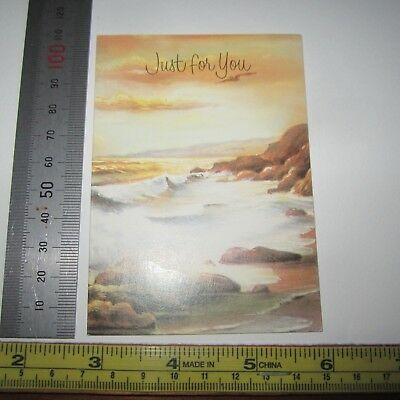 Vintage Greeting Card 1960s Just For You Small Yellow Beach Waves Retro New