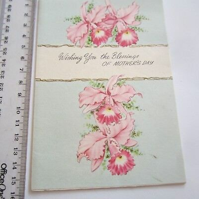 Vintage Greeting Card Mothers Day 1950s 60s Orchids Pink Art Paper Craft