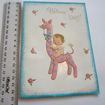Vintage Greeting Card Welcome Baby Pink Giraffe Nice Sentiment 1960s art paper
