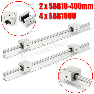2PCS SBR10-400mm 10mm Fully Supported Linear Rail Rod w/ 4xSBR10UU Block