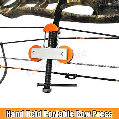 Hand Held Portable Bow Press and Quad Brackets for Compound Bow Hunting