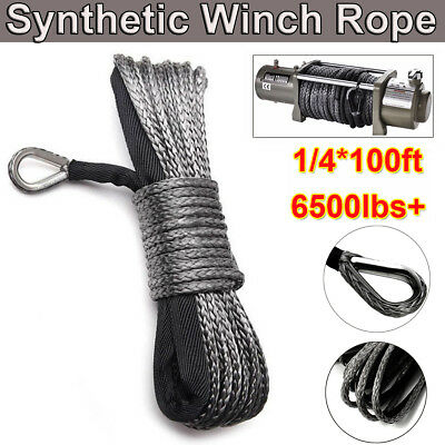 """100Ft 1/4"""" 6500lbs Synthetic Winch Towing Rope Line Cable Recovery Gray"""