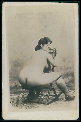 French ? nude woman Big butt on chair original c1910s photo postcard