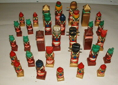 1940s TIKI GODS TOTEM WOODEN HAND PAINTED CHESS SET