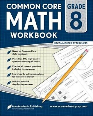 8TH GRADE MATH Workbook: Commoncore Math Workbook (Paperback or Softback)