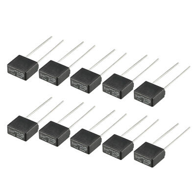 10Pcs DIP Mounted Miniature Square Slow Blow Micro Fuse T1A 1A 250V Black