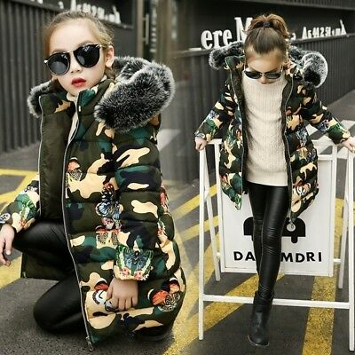 Winter Girl Cotton Jacket Girl Butterfly Camouflage Long Winter Coat Clothes