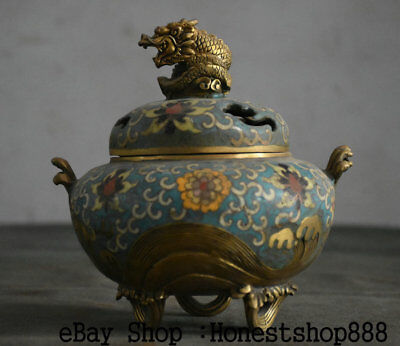 """7"""" Marked Chinese Bronze Cloisonne Gild Gilt Dynasty Palace Fly Dragon Censer"""