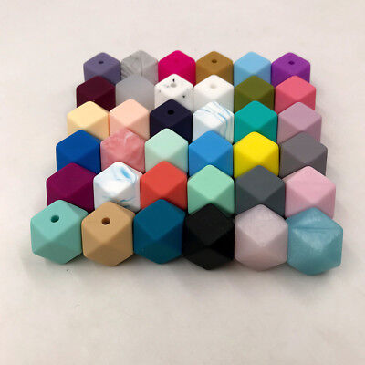 Hexagon Silicone Teething Beads Baby Jewelry DIY Chewable Necklace Teether new
