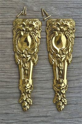 A pair of brass Victorian pier cabinet ormolu furniture mounts lion head 2001