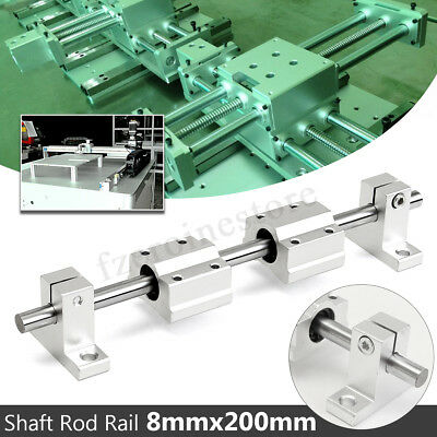 2Pcs 8mm 200mm Linear Shaft Rod Rail Kit w/ 4 SCS8UU Slide Bearing Block CNC  !