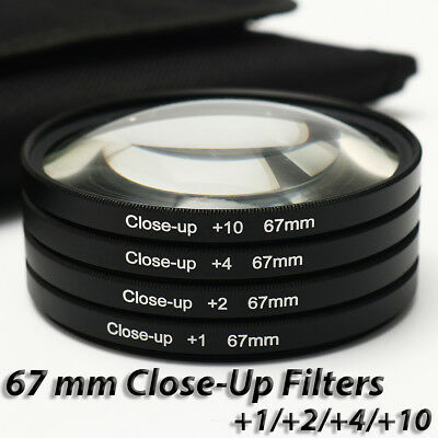 67MM +1 +2 +4 +10 Close Up Macro Lens Filters & Bag For Canon Nikon DSLR