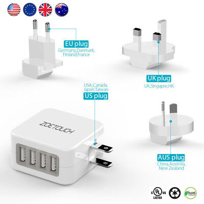Useful 4 USB Universal Travel Adapter Plug Dual Voltage Converter UK/EU/AU US