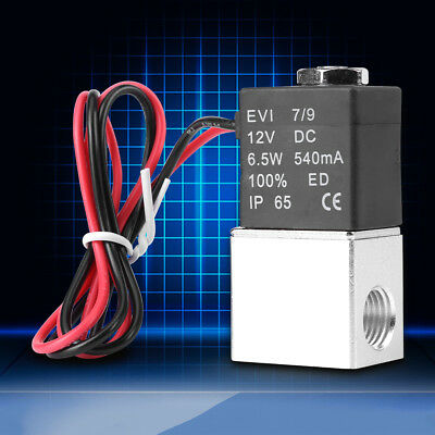 """12V DC 1/4"""" 2 Way Direct Acting Normally Closed Pneumatic Solenoid Air Valve CE"""