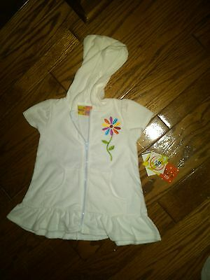 Nwt Toddler Girls White Terry Hooded Swim Bathing Suit Cover Up Sz 18 Mos Upf 50