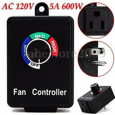 AC120V 5A 600W Fan Variable Air Duct Speed Controller Hydroponics Inline