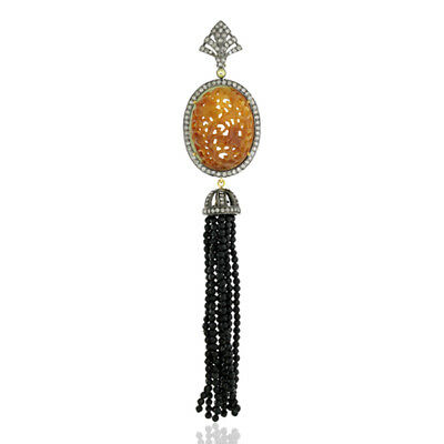 18K Gold Black Spinel Tassel Pendant Diamond Silver Carved Gemstone Pave Jewelry