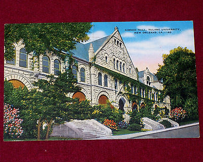 1941 Vintage Linen Postcard Gibson Hall Tulane University New Orleans