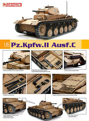 Pz.Kpfw.II Ausf.C Panzerkampfwagen German Tank Panzer 1:6 Model Kit Dragon 75045