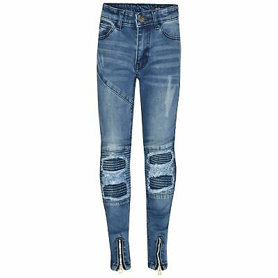 Kids Girls Stretchy Jeans Mid Blue Ripped Drape Panel Denim Pants Trouser 5-13Yr