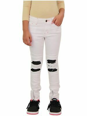 Kids Girls Stretchy Jeans Designer White Ripped Drape Panel Denim Pants Trousers