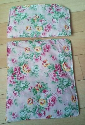 """Dolls Pram Cot Quilt Set 12"""" X10"""" Pink With Flowers  New"""