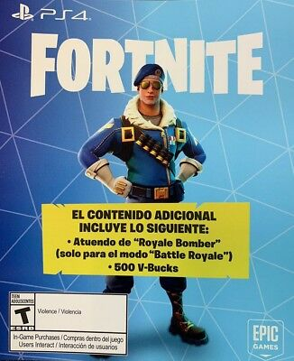Fortnite Royale Bomber Skin + 500 V-Bucks USA NA PS4 Playstation Download Card