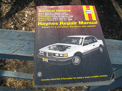 Repair Service Manual Buick Skylark Somerset Pontiac Grand Am Oldsmobile Calais