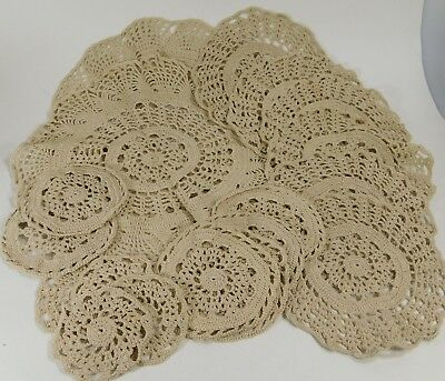 Beautiful Beige Crocheted 6 place Dining Setting, for Plates,Glasses and Serving
